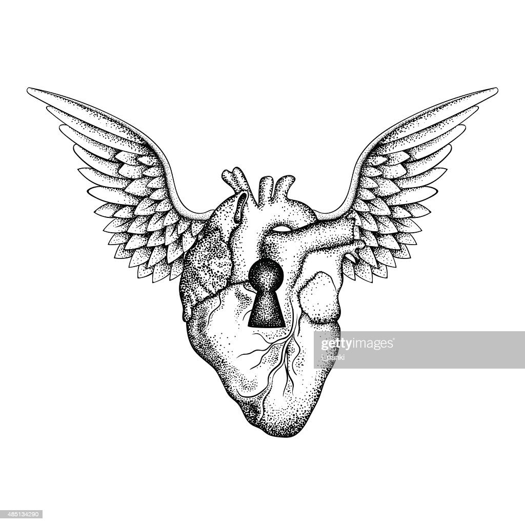 Hand drawn elegant anatomic human heart with wings and keyhole,