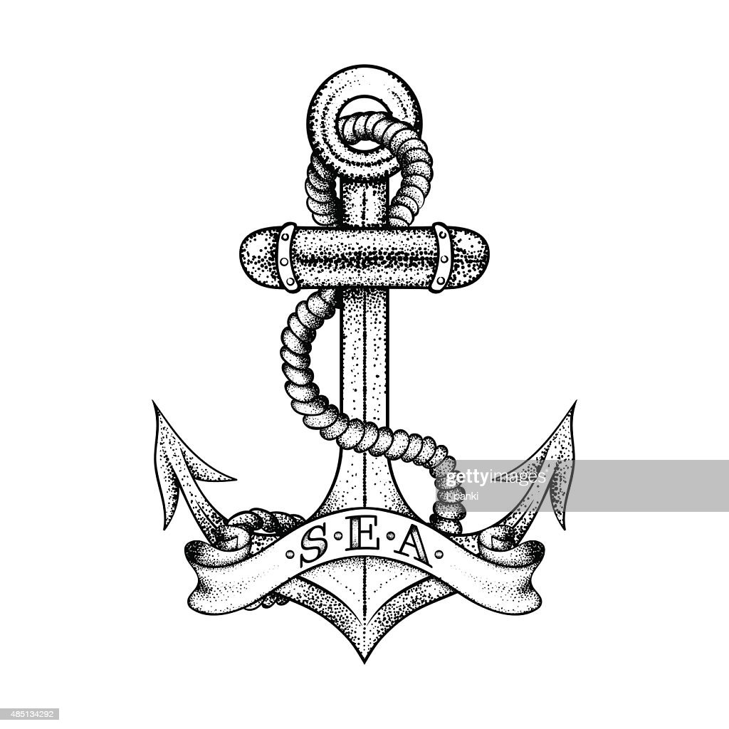 Hand drawn elegant ship sea anchor with rope and banner,
