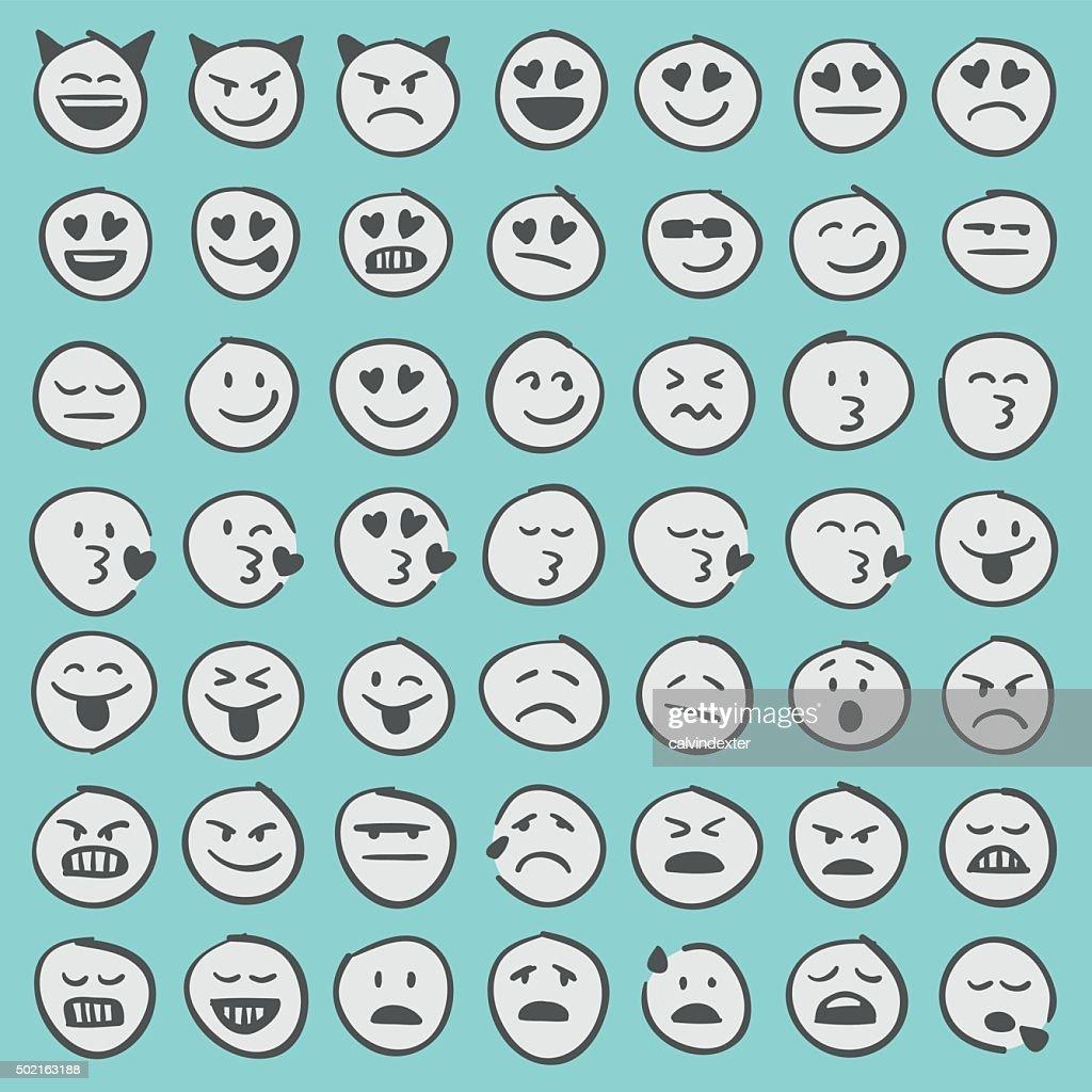 Hand drawn emoji icons set 2