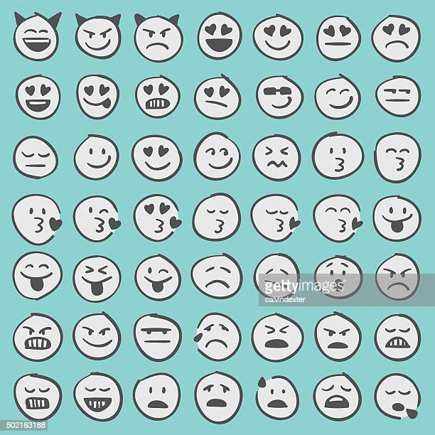 Hand drawn emoji icons set 2