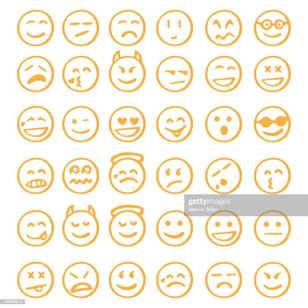 hand drawn emoji icons set