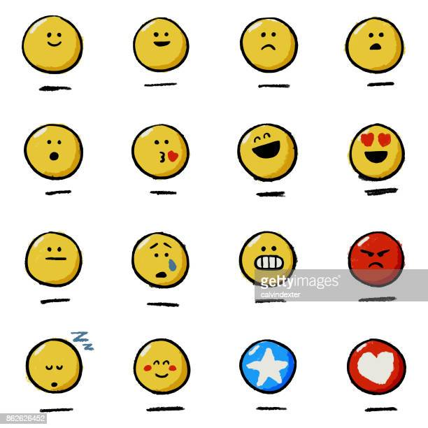 Hand drawn emoticons reactions