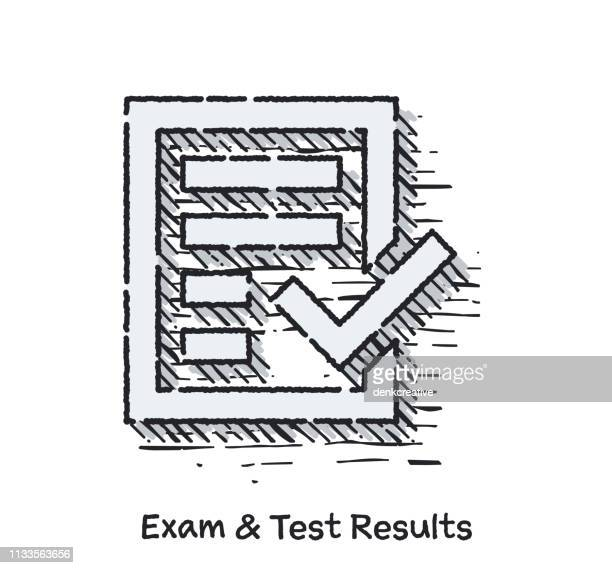 hand drawn exam & test results sketch line icon for web - report card stock illustrations
