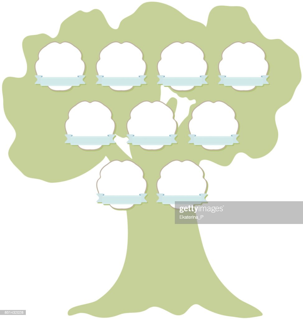 Hand drawn family tree with hanging labels.  Green silhouette of the oak isolated on white background. Vector
