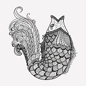 Hand drawn fantasy fish vector in style