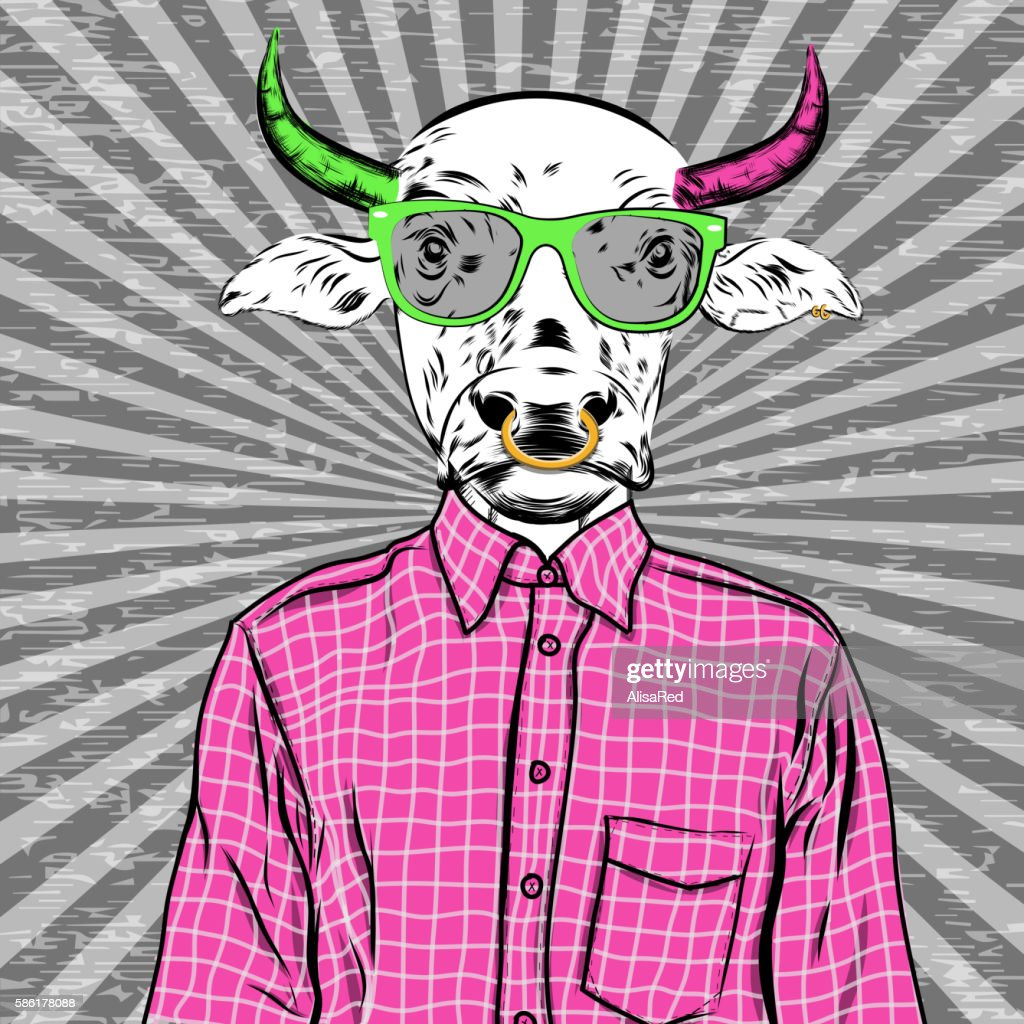 Hand Drawn Fashion Illustration of dressed up bull, in colors