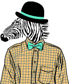 Hand Drawn Fashion Illustration of dressed up zebra, in colors