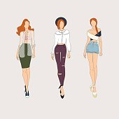 Hand drawn fashion models. Vector illustration.