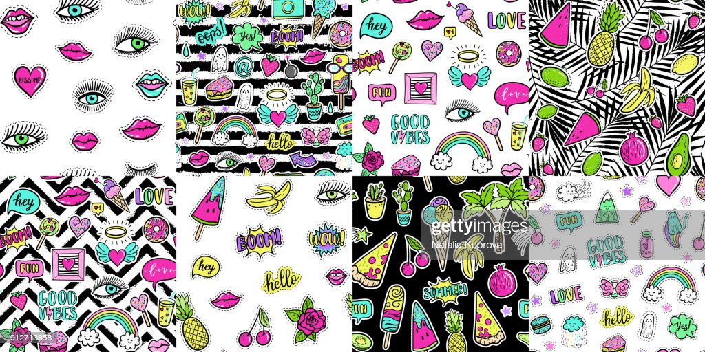 Hand drawn fashion patches tropical avocado, banana, watermelon, tropical palm, pizza, lip, cake, seamless pattern. Vector illustration background set. Pop art patch, pin, badge 80s-90s style