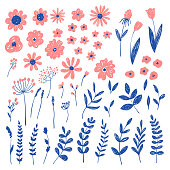 Hand drawn fashion pink floral elements. Vector doodle background