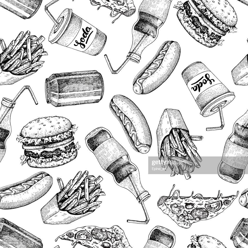 Hand drawn fast food pattern. Junk food and soda drinks