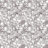 Hand drawn fast food seamless pattern