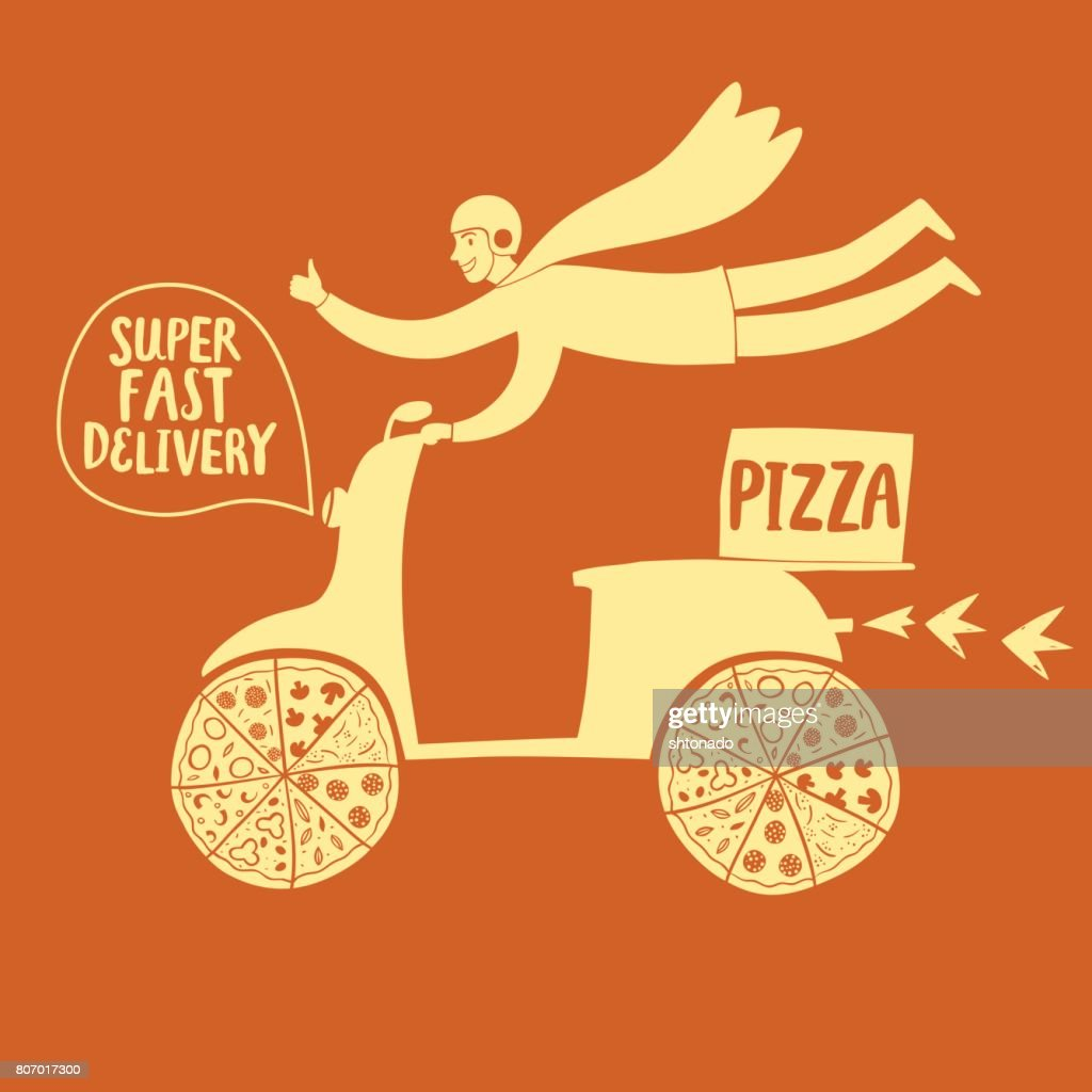 Hand drawn fast motorcyclist with pizza