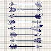 Hand drawn feathery arrows sketch