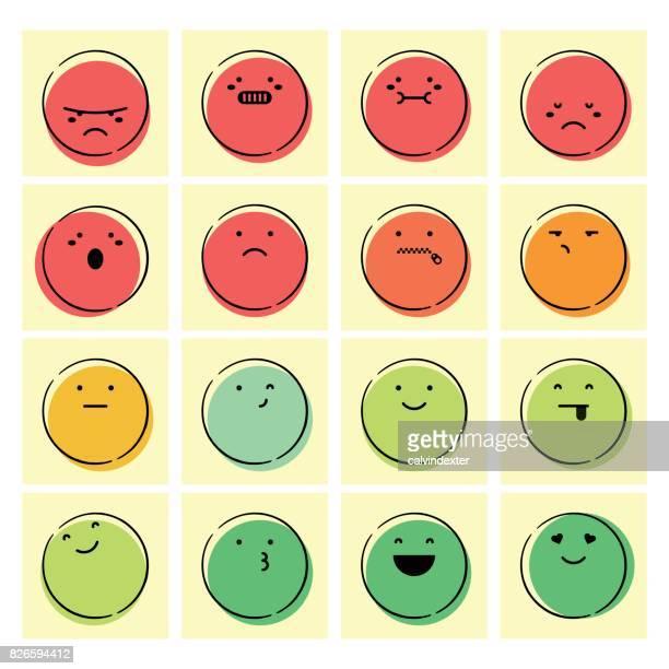handgezeichnete feedback emoticons - punkten stock-grafiken, -clipart, -cartoons und -symbole