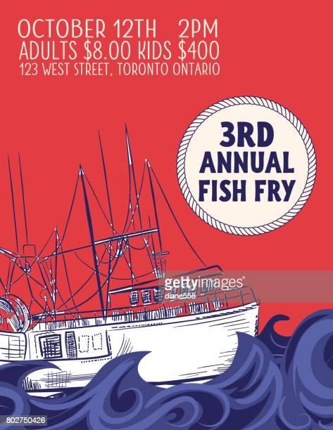 Die Hand gezeichneten Fisch-Abendessen-Spendenaktion mit nautischen Elementen