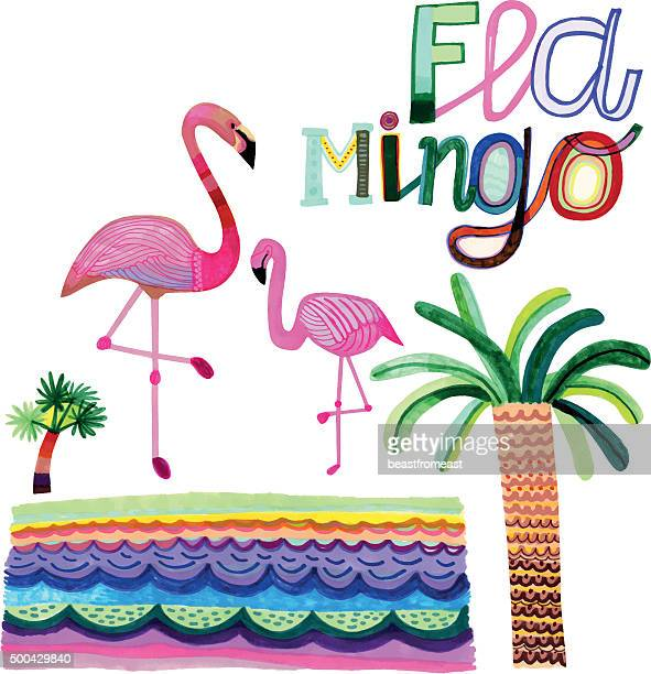 hand drawn flamingos and palm trees isolated on white - flamingo stock illustrations, clip art, cartoons, & icons