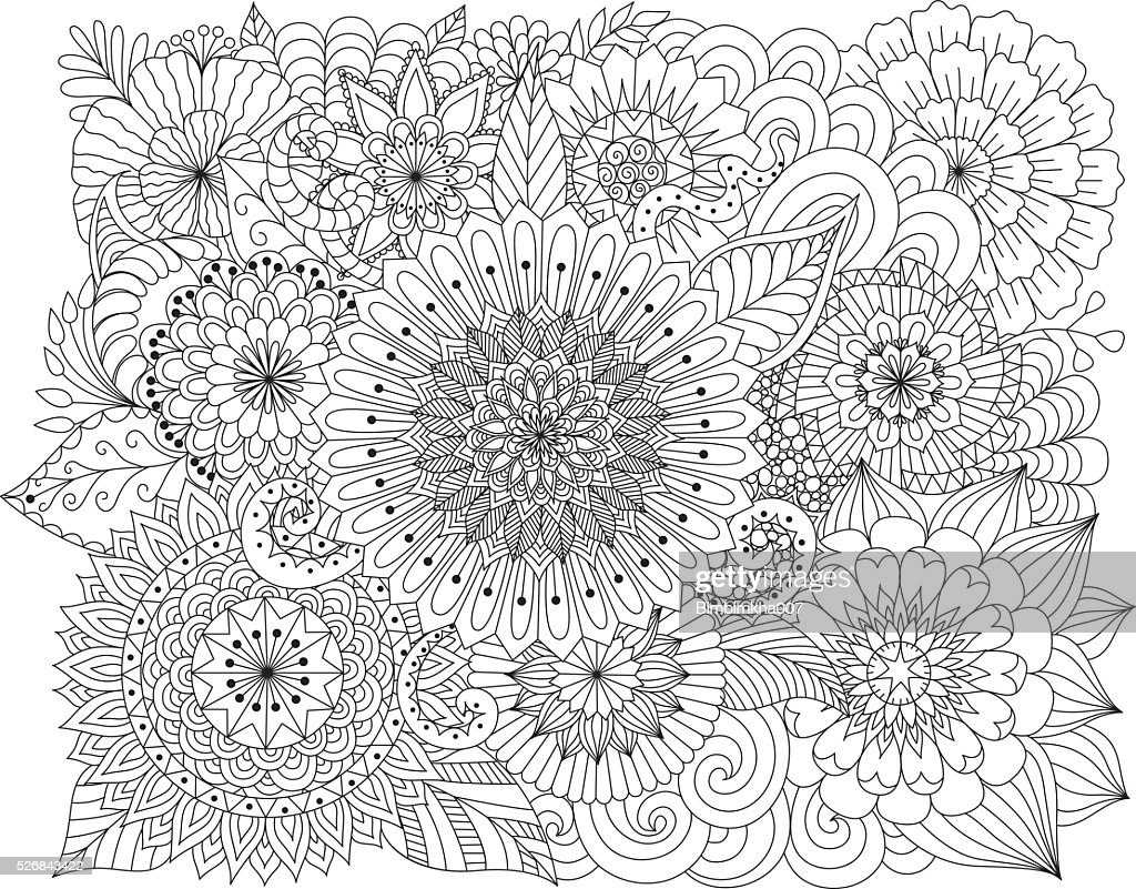 Hand drawn floral background for coloring page