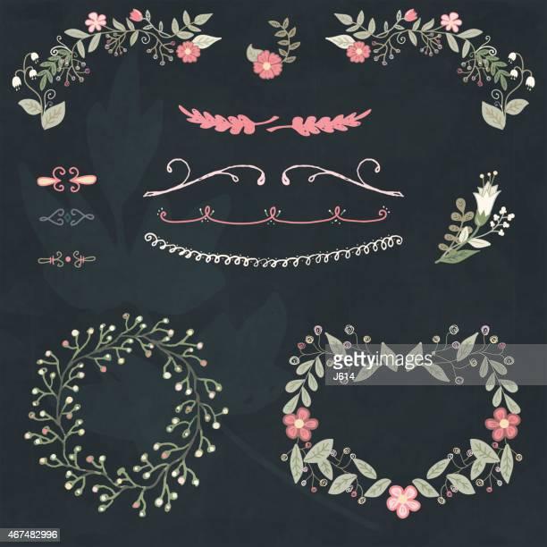 Hand drawn floral design element set