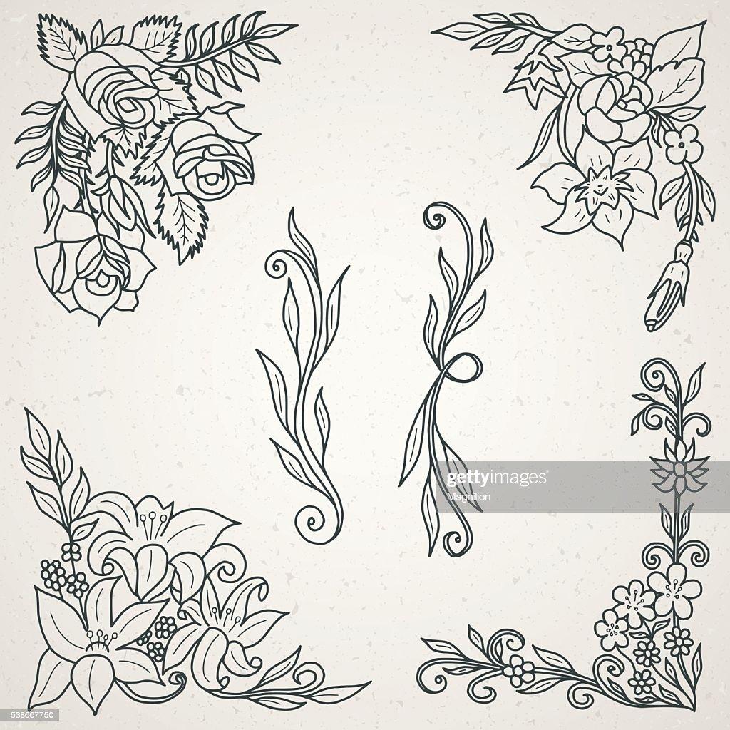Hand Drawn Floral Design Elements for Frames