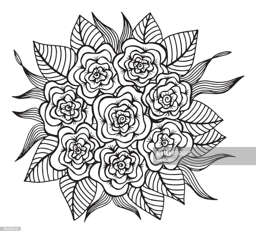 Hand Drawn Floral Doodle Coloring Pages For Book Illustration Circle Ink Coloring Drawing Activity Formal Garden High Res Vector Graphic Getty Images