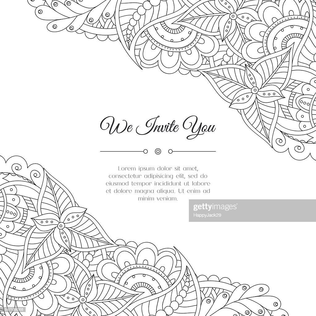 Hand drawn floral doodle corner