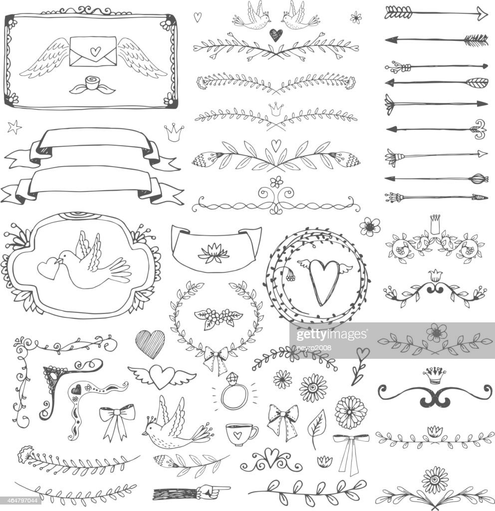 Hand drawn floral page elements. Swirls, ribbons, frames, arrows, dividers