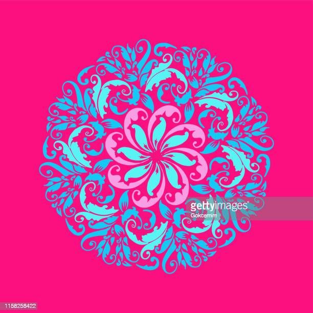 hand drawn floral pink and blue mandala. modern and minimalist mandala with bright colors. geometric circle design element for invitation and greeting cards. - mandalas india stock illustrations