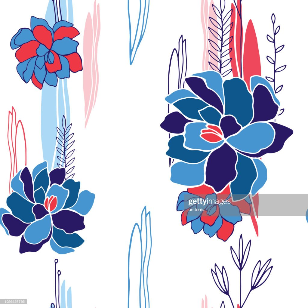 Hand drawn floral seamless background pattern for your design