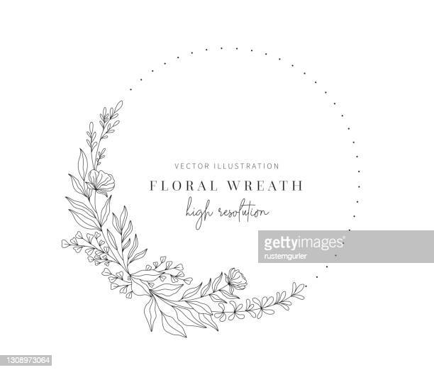 hand drawn floral wreath, floral wreath with leaves for wedding. - floral pattern stock illustrations