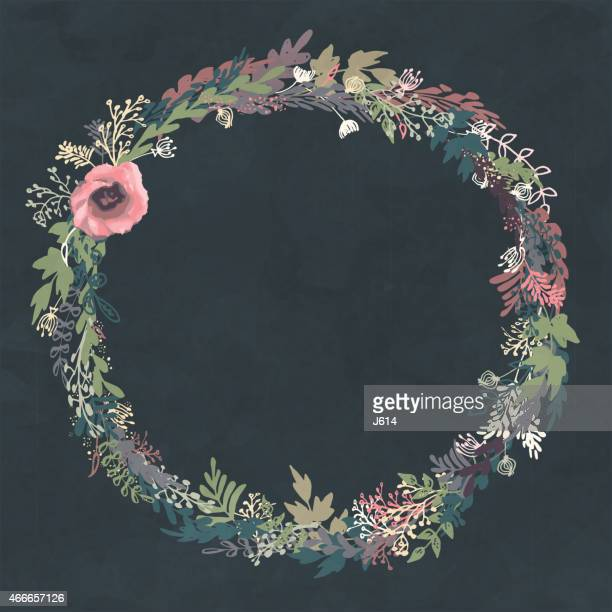 hand drawn floral wreath - wildflower stock illustrations