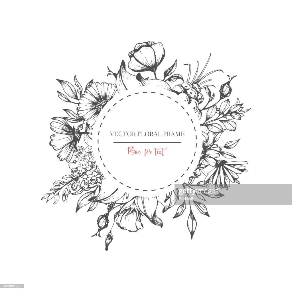 Hand drawn flower round frame.