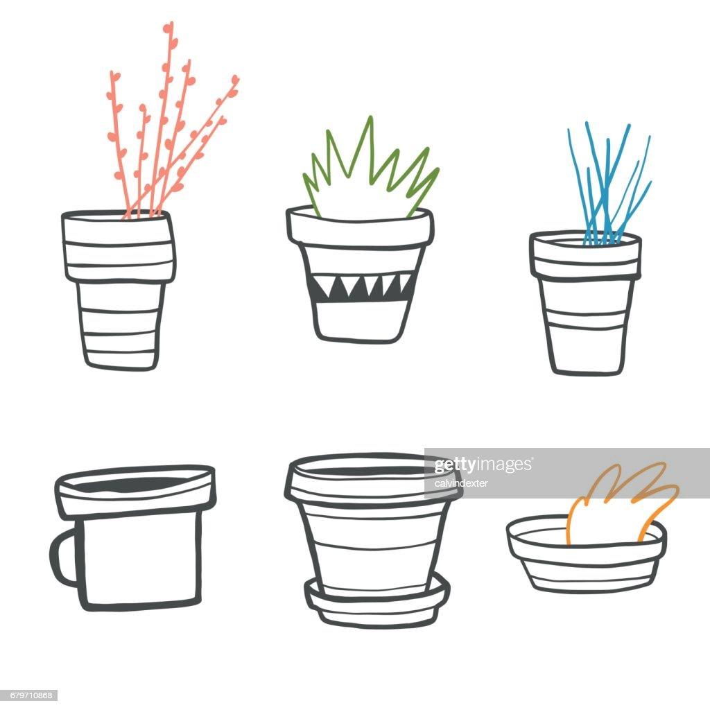 Hand drawn flowerpots set
