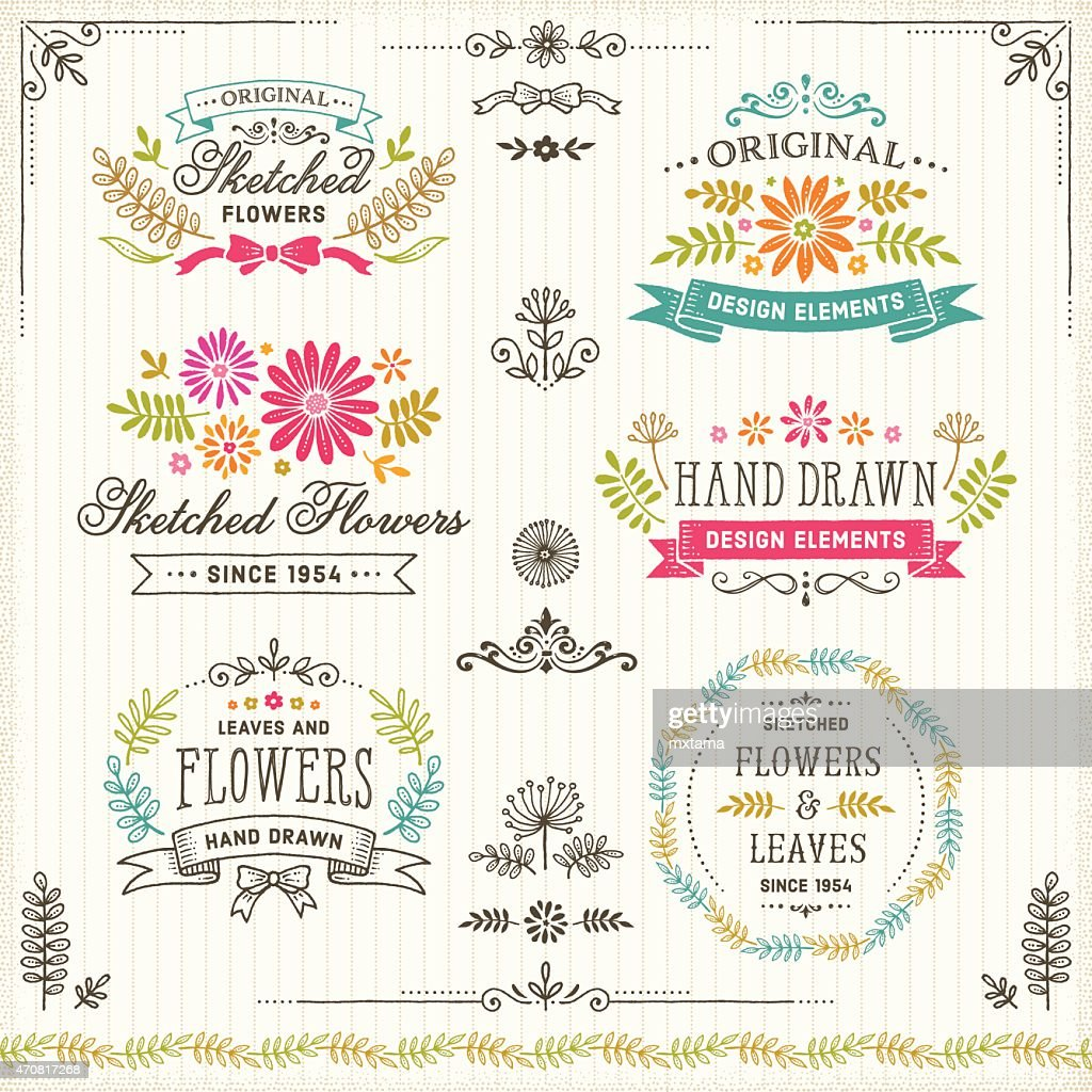 Hand Drawn Flowers and Leaves Design Elements with Frames and Badges