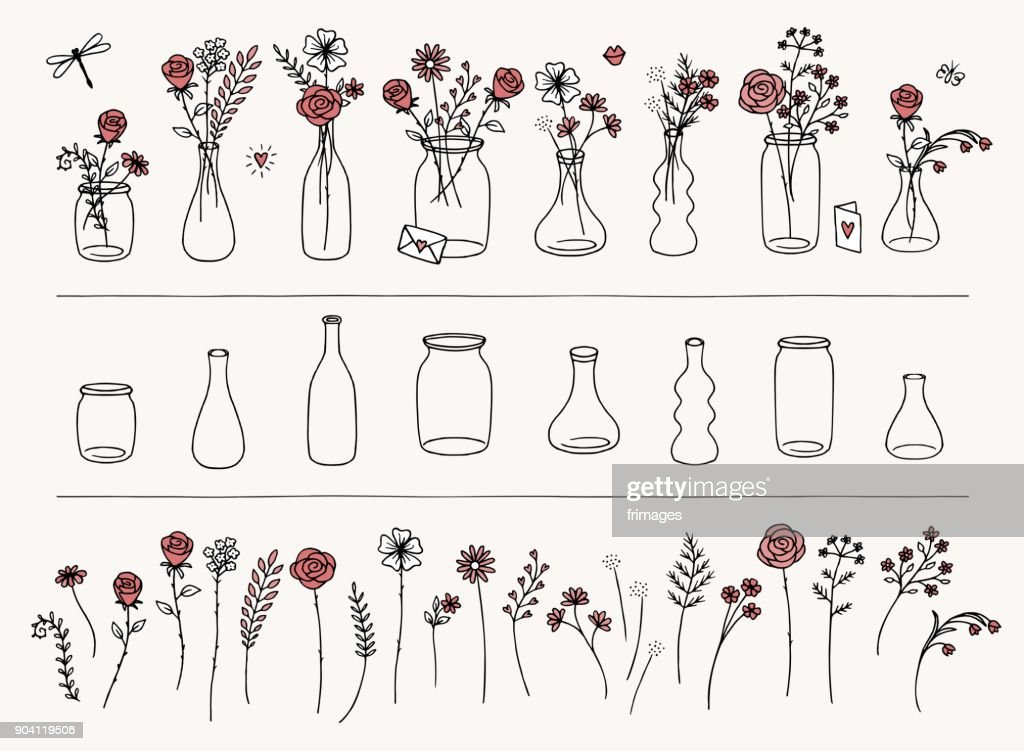Hand drawn flowers and vases