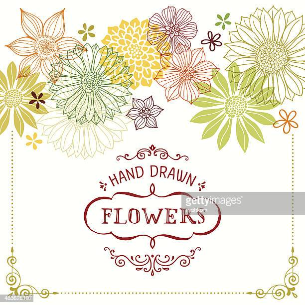 hand drawn flowers with frame - daisy stock illustrations, clip art, cartoons, & icons