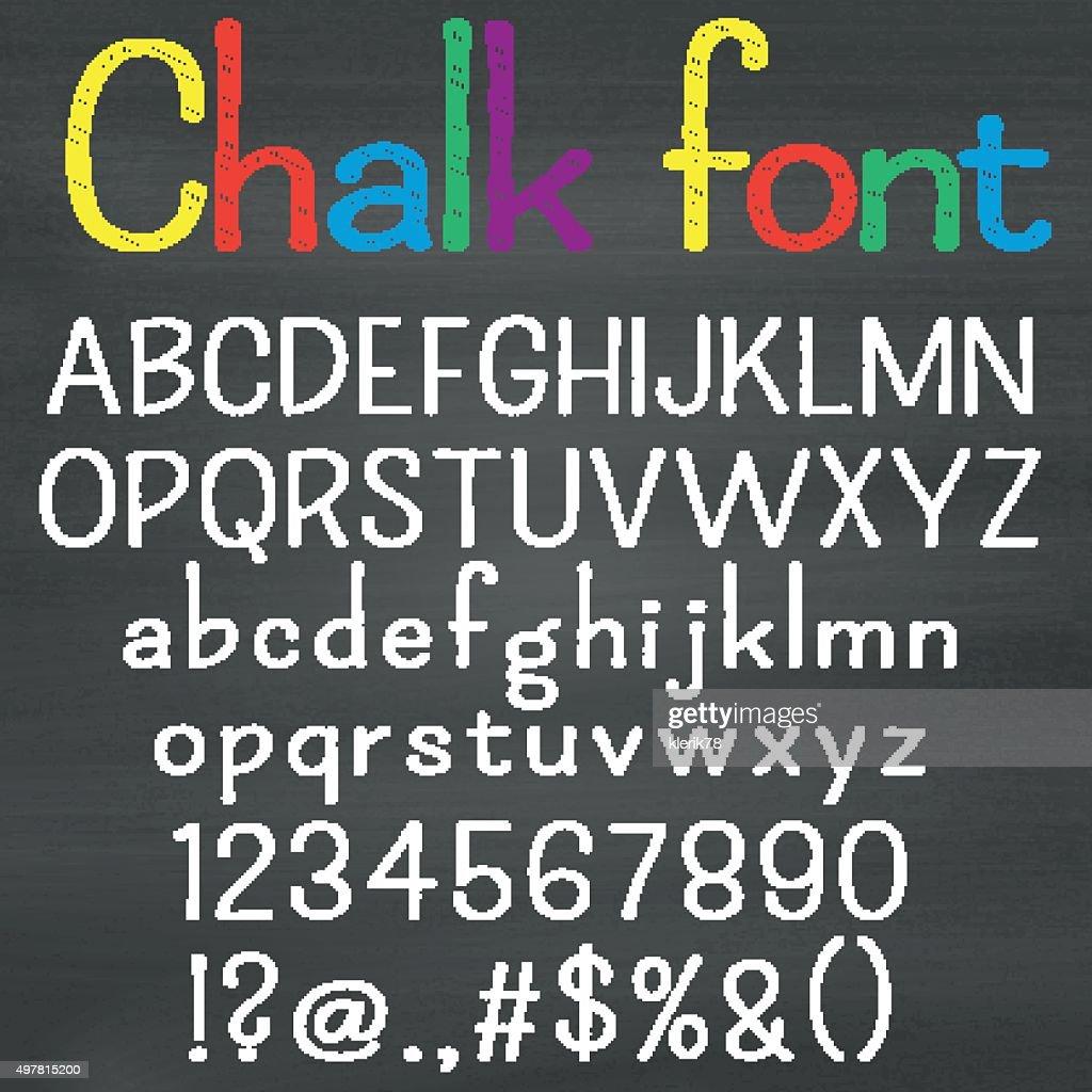 Hand drawn font on chalk background