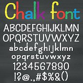 Hand drawn font on chalk background