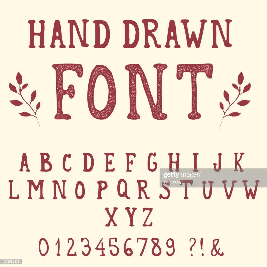 Hand drawn font. Vintage alphabet.