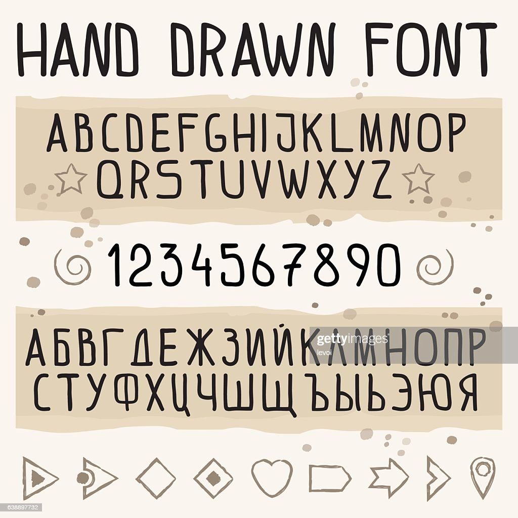 Hand drawn font with latin and cyrillic symbols.