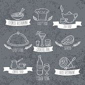 Hand drawn food and drinks labels. Doodle emblems on grunge