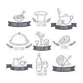 Hand drawn food and drinks labels templates for menu or