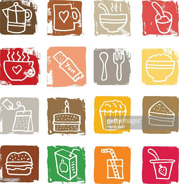Hand drawn food icon blocks