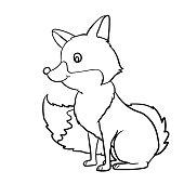 Hand drawn Fox cartoon-Vector Illustration