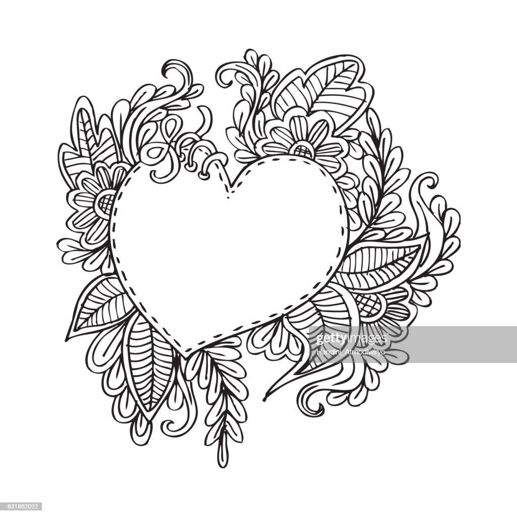 Hand Gezeichneten Rahmen Mit Herz Form Und Blume Ornament ...