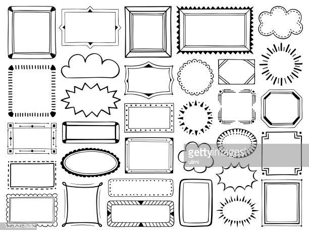 hand drawn frames - picture frame stock illustrations