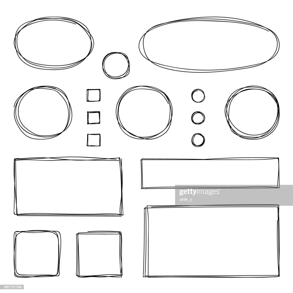 Hand drawn frames. Vector illustration. Sketch.