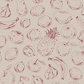 Hand drawn fruit  and berry seamless pattern. Ink sketch apple, orange, plum, apricot, lemon, fig, banana, pineapple, kiwi, mango, persimmon on brown craft paper.