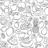 Hand drawn fruits seamless pattern