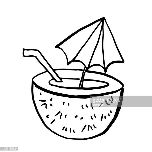 Hand Drawn Fun Cartoon Style Tropical Coconut Drink